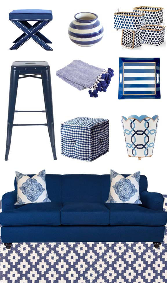 X Bench | Blue Striped Round Vase | Mercado Baskets | Barstool ·  Herringbone Pom Pom Throw | Navy Striped Bedside Tray | Square Gingham Poof